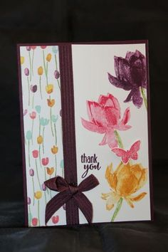 Card made with Stampin Up Lotus Blossom stamp set. Made by Helen of Helen's Card Designs. ~ Cards 1.