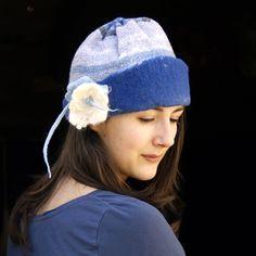 Unique handmade felt hats Sky blue felt cap with brim by jannio, $82.00