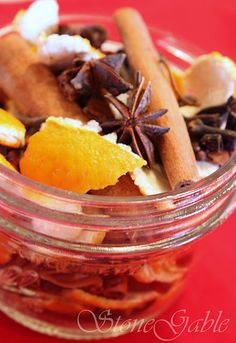 simmer potpourri gift idea — peels of clementines, tangerines or other thin skinned oranges; star anise; cinnamon sticks; whole cloves; vanilla bean