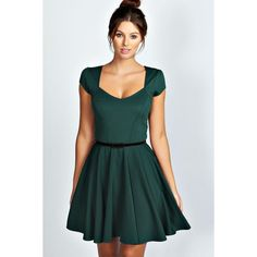 Boohoo Lara Sweetheart Neck Skater Dress (265 DKK) via Polyvore featuring dresses, bottle, maxi dress, party dresses, bodycon mini dress, color block maxi dress and green maxi dress
