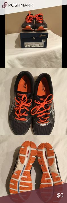 MENS TENNIS SHOES👟 ONLY WORN A FEW TIMES, VERY GOOD CONDITION!! COLOR CHARCOAL/SILVER/ORANGE. Asics Shoes