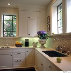 white kitchen counter top/white cabinets