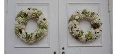white and green church wreaths
