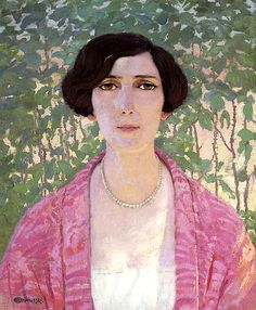 ⊰ Posing with Posies ⊱ paintings & illustrations of women & children with flowers - Portrait of Aeny Frewert Edward Okun - 1927