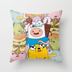 Adventure Time Throw Pillow by Laura O'Connor - $20.00