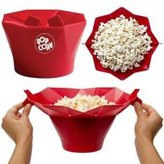 Foldable Microwave Popcorn Bowl #kitchentools #kitchengadgets #popcorn