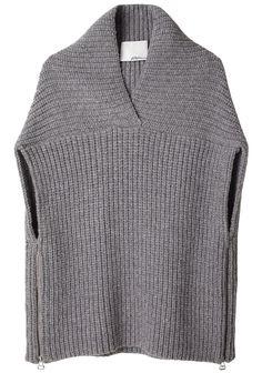 Phillip Lim Shawl Sweater Vest, like the details. Poncho Crochet, Knit Fashion, Loom Knitting, Knitting Machine, Crochet Clothes, Pulls, Knitwear, Knitting Patterns, My Style
