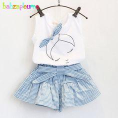 2 PCS/0-7Years/Verão Estilo Conjuntos de Roupas Crianças Dos Desenhos Animados Bonito Sem Mangas T-shirt + Shorts Roupa Dos Miúdos para o Bebê Meninas Terno BC1152