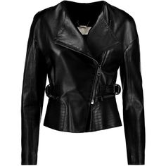 Chloé Leather biker jacket ($1,358) ❤ liked on Polyvore featuring outerwear, jackets, coats, black, slim leather jacket, real leather jacket, leather jacket, black jacket and slim fit motorcycle jacket