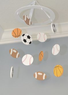Lil' Champ Sports Nursery Mobile – Flutter Bunny Boutique Sports Nursery Mobile Custom Wooden Soccer Baseball Basketball Football Golf Hockey Tennis Athlete Athletic Decor - Boy Girl Kids Sports
