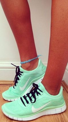 Adorable Nike mint green women shoes. I want these but why is it all the cute nike shoes you can't ever find? (Maybe they're all the customized versions)