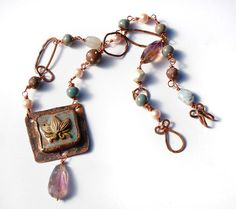 Lotus Dreams / Ceramic and Copper Art Bead Lotus Necklace by gaea, $98.00