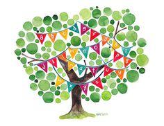Alfabeto árbol Original acuarela arte impresión reproducción guardería arte de la pared