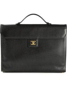 CHANEL VINTAGE logo plaque briefcase #bag #chanel #jobinterview #workday #men #designer #covetme #chanelvintage
