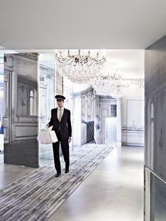 Romantic Winter Getaways: La Maison Champs Elysees, Paris **If you'd like an all-black interior, you MUST book The Curiosity Case Suite! Romantic Winter Getaways, Outdoor Chandelier, Chandeliers, Hotel Carpet, Honeymoon Suite, French Classic, French Colonial, Cheap Carpet Runners, Retail Design