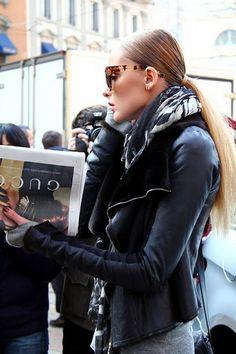 Black leather jacket | leopard glasses