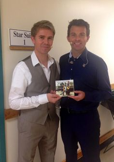 """Neil Byrne and Ryan Kelly showing off their new album """"Acoustically Irish"""""""