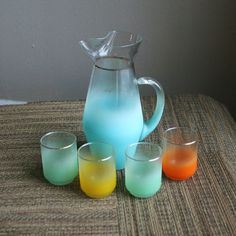 Vintage Set of Blendo - Colorful - West Virgnia Glass - Pitcher and 4 Glasses. $24.00, via Etsy.