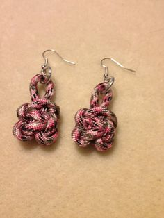 Pink camouflage para cord earrings via Etsy
