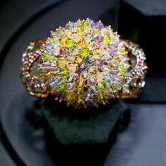 De Grisogono Unique one of a kind multi-colored sapphire cuff Bracelet