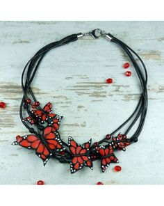 butterfly, neclace butterfly, polymer clay necklace with butterfly, fimo, handmade jewelry by Pracownia Kameleon