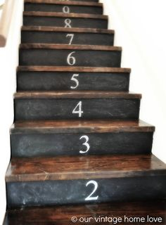 our vintage home love...chalkboard/ stenciled chalk numbers