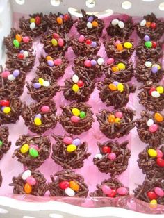 Easter nests -- 12 oz Choc.chips , 12oz Mein noodles ,  1/4 c of Rice Krispies and bag of Jelly Beans