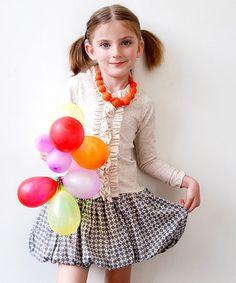 Look at this #zulilyfind! Gray & Beige Dot Ruffle Dress - Toddler & Girls by Sophie Catalou #zulilyfinds