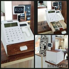 Use a calculator for play cash register Diy Kids Kitchen, Toy Kitchen, Cardboard Crafts Kids, Cool Basement Ideas, Licht Box, Kids Cafe, Play Shop, Idee Diy, Wood Toys