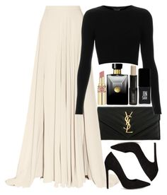 """Untitled #1143"" by alexadmendoza ❤ liked on Polyvore featuring Yves Saint Laurent, Elie Saab, ASOS, Topshop, Versace, Lord & Berry and JINsoon"