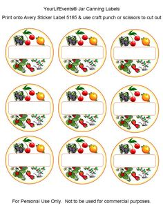canning jar labels printable | Free Printables} Fruit & Vege Jar Canning Labels | Your LifEvents ...