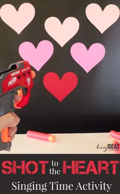 Shot to the heart Singing Time activity. Super fun and easy. Perfect for Valentines! Musical game