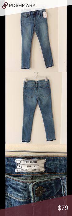 FREE PEOPLE KENTUCKY RAW HEM SKINNY JEANS 27 In excellent condition, no flaws, measurements and fabric type in pics. Free People Jeans Skinny