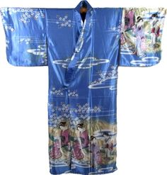 This Kimono is adorned with three Geisha in a traditional Japanese scenery with white cherry blossoms and blue skies. Made in Japan, this traditional Japanese Kimono has butterfly styled sleeves and a matching belt.