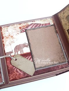 Africa Safari Scrapbook Album  - Cover size: 8 1/2 x 8 1/2 x 3 1/2 inch (or 22 x 22 x 9 cm) - Inner pages size: 8 x 8 inch (21 x 21 cm) - decoupage technique for some of inner pages - 16 pages, 2 usable hard covers, 4 flips for journaling. - Framed areas for each photo and a lot of tags for memorabilia - Each page is unique decorated. - Pocket page, where you can keep some things for memories like tickets, cards ect.