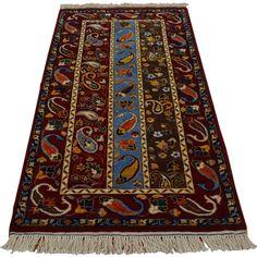 "1800getarug Hand-knotted Kashkuli Boteh Design Oriental Rug (2'8 x 5'5) (Exact Size: 2'8"" x 5'5""), Multi, Size 3' x 5'"