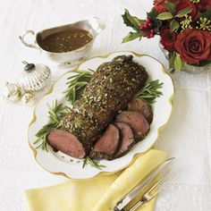 Beef Tenderloin with White Wine Sauce Recipe --Basic herbs and a splash of white wine are enough to create a flavorful tenderloin that pairs well with blanched veggies.