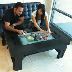 Mozayo pro pro series smart touch table with computer – touchscreen tables you've seen them in futuristic television shows and movies and now this technology comes to your home or office mozayo introduces the pro series smart touch table featuring a 42 Electronic Gadgets For Men, Mens Gadgets, Electronics Gadgets, Home Improvement Blogs, Home Bar Areas, Touch Screen Technology, Coffee Table Design, Cozy Living Rooms, Diy On A Budget
