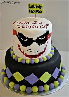 Why so serious? Joker themed cake by Rockabilly Cupcakes  www.rockabillycupcakes.com