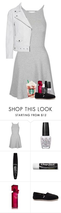 """Mad sounds in your ears make you feel alright"" by xxghostlygracexx ❤ liked on Polyvore featuring Topshop, OPI, Rimmel, Chapstick, TOMS and Acne Studios"