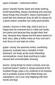 noellemarie is a piano person. Janessa is a uke person, I'm a drums person. Is ace a guitar person? Idk probably Types of people Writing Advice, Writing Help, Writing A Book, Writing Ideas, Writing Promts, Writing Characters, Story Prompts, Text Posts, Writing Inspiration