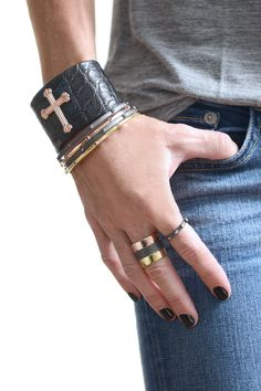 KATIE design Jewelry, Crown the Cross Alligator Cuff, Rosary Bangles with Diamond Beads, Ebonized Rosary Ring with Diamond Beads, KATIE bands in 18K gold plate, ebonized sterling silver and rose gold plate