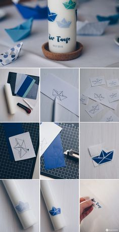 DIY diy christening candle with origami boats and text- DIY Taufkerze selbermachen mit Origamibooten und Text DIY diy baptism candle – step by step … - Origami Boot, Origami Diy, Bautizo Diy, Baptism Candle, Diy Cadeau, Diy Crafts To Do, Origami Flowers, Diy Candles, Candle Making