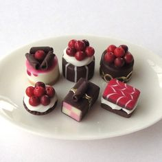 Delicious, Dark Chocolate and Cherry Cakes (ceramic plate not included in sale)