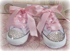 Shoes by: Converse +Bling by: Kentuckiana Chic = 100% FABULOUS!!!    We really love these feminine and brilliant shoes, Adorned with Clear