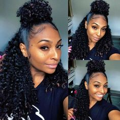 JinglesHair Kinky Curly Virgin Hair Closure With 3 Bundles Deals Best Unprocessed Peruvian Jerry Curly Remy Human Hair Extensions Real Human Hair Extensions, Remy Human Hair, Human Hair Wigs, Remy Hair, My Hairstyle, Ponytail Hairstyles, Down Hairstyles, Black Hairstyles, Love Hair