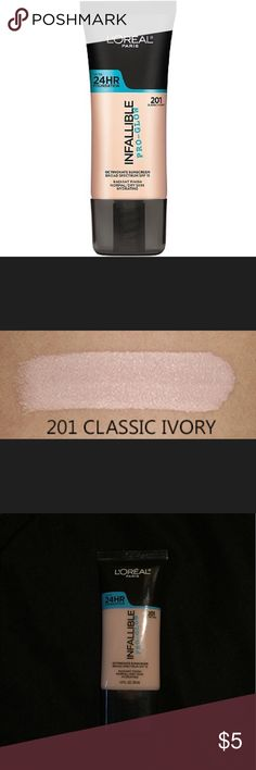 L'oréal Infallible Pro Glow Foundation Ivory 201 Only used once. It's luminous and beautiful  on the skin, but I have very oily skin so it didn't work out. This color is 201 ivory. I believe it's best for dry skin. Loreal Makeup Foundation