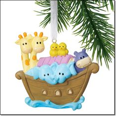 Noah's Ark Baby's First Ornament  AVON EXCLUSIVE  Can be personalized with baby's name, birth date and weight. Includes personalization stickers in Spanish and French