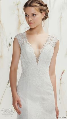Lillian west spring 2016 bridal thick lace strap v neckline lace embroidery sheath wedding dress with train illusion lace back style. #Wedding #WeddingDress #Bride