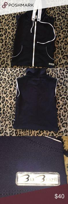 Bia Brazil Active Wear Zip Hoodie! By Bia Brazil! Active wear! Black & White Zip muscle hoodie! Great Condition! Bia Brazil Tops Sweatshirts & Hoodies